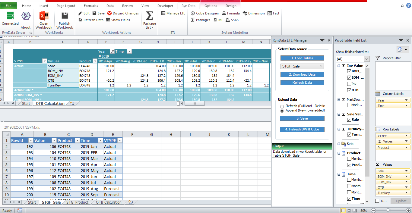 Open to Buy calculation in excel open last month end of sale inventory